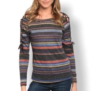 NWT Available Striped Ribbed Sweater Top